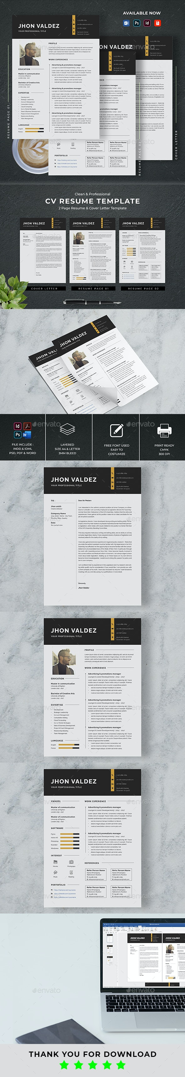 Minimalist CV Resume & Cover Letter Template - Resumes Stationery