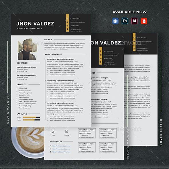 Minimalist CV Resume & Cover Letter Template