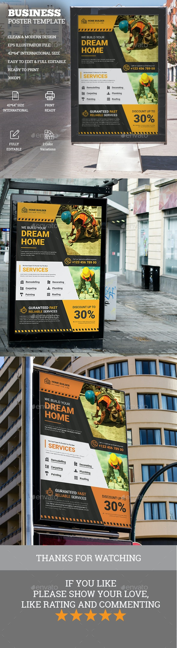 Construction Poster Template - Signage Print Templates