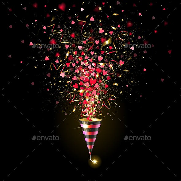 Exploding Firecracker with Gold Confetti and Red Hearts