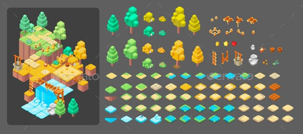 Isometric Tiles - Tilesets Game Assets