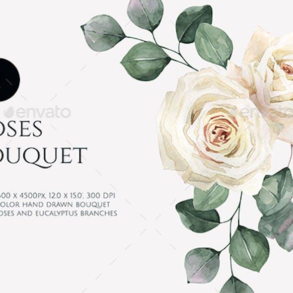 Watercolor Boho Roses Bouquet