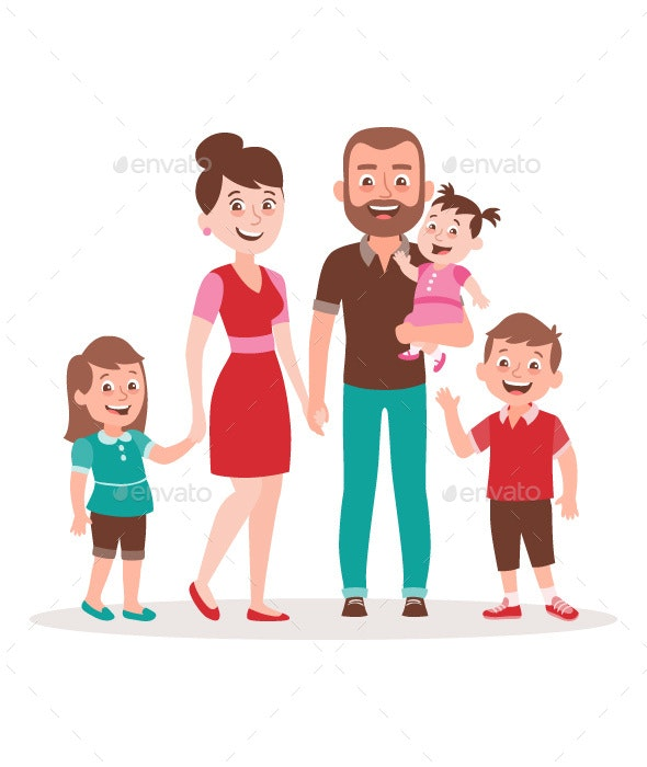 Family portrait. Father, mother, two kids and a baby. - People Characters