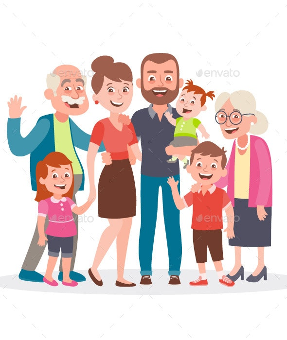 Big family portrait. Father, mother, three kids and two grandparents. - People Characters