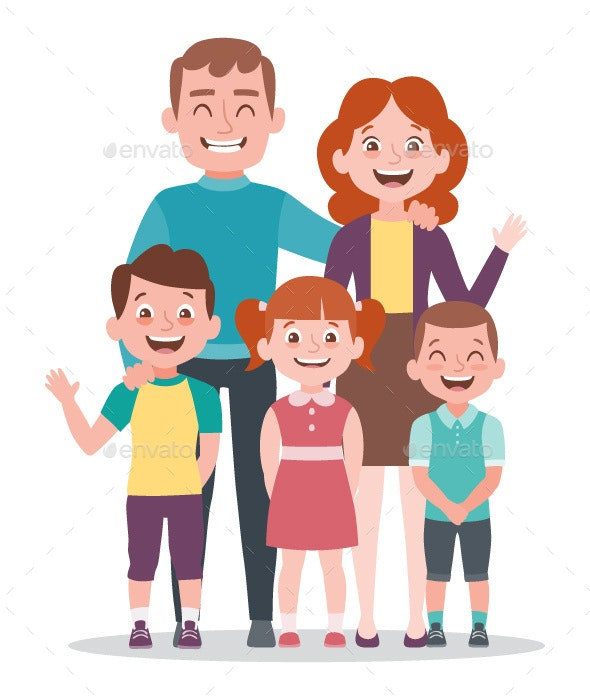 Family portrait. Parents with three kids. - People Characters