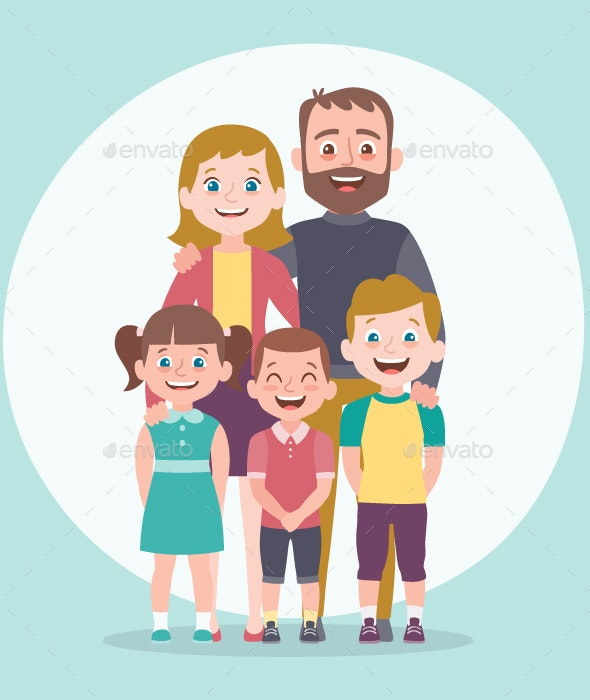 Family portrait. Parents with children. - People Characters