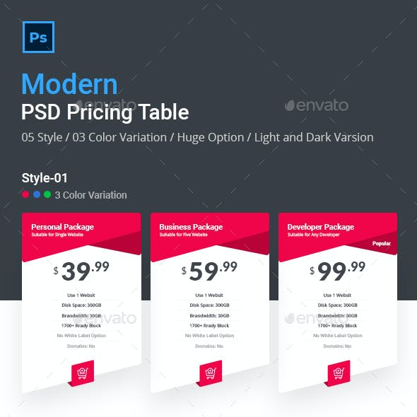 Modern PSD Pricing Table