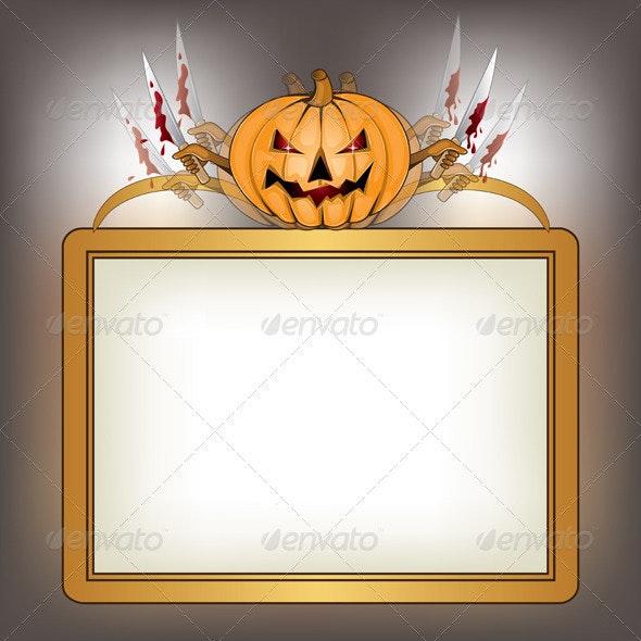 Halloween background with killer pumpkin  - Vectors