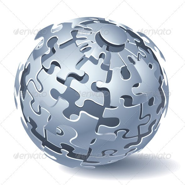 Jigsaw Puzzle Sphere. Dynamic Explosion