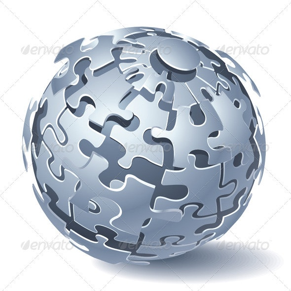Jigsaw Puzzle Sphere. Dynamic Explosion - Man-made Objects Objects