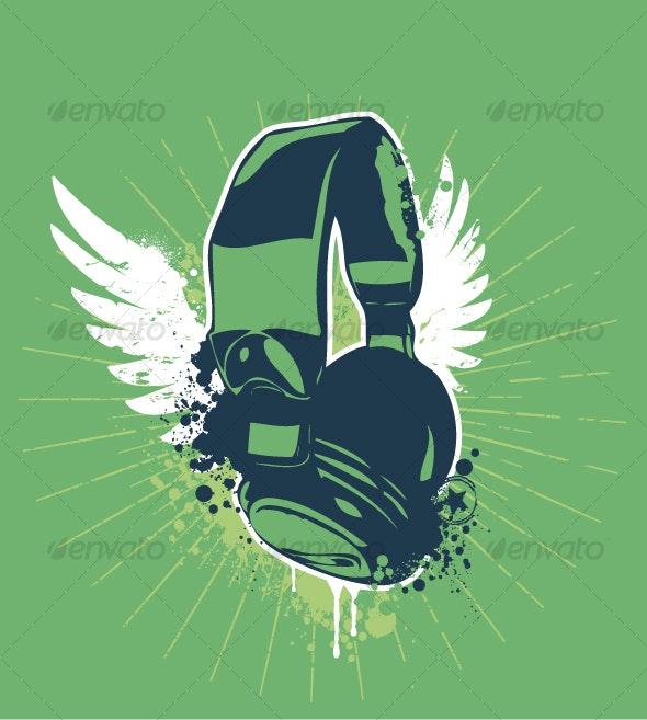 Grunge headphones - Decorative Symbols Decorative