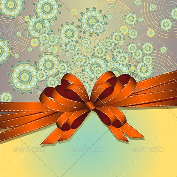 Floral background with bow - Flourishes / Swirls Decorative