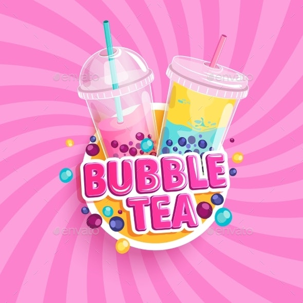 Bubble Tea Banner on Sweet Sunburst Background - Food Objects