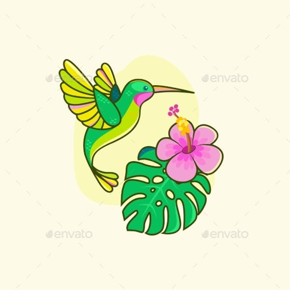 Funny Colorful Hummingbird Flying Near the Flower