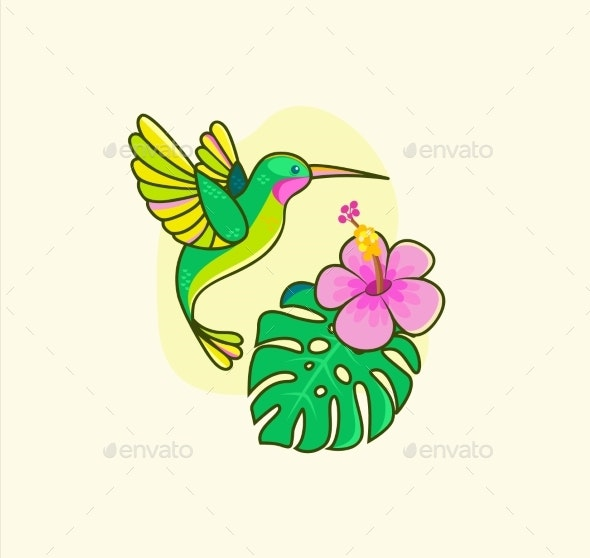 Funny Colorful Hummingbird Flying Near the Flower - Animals Characters