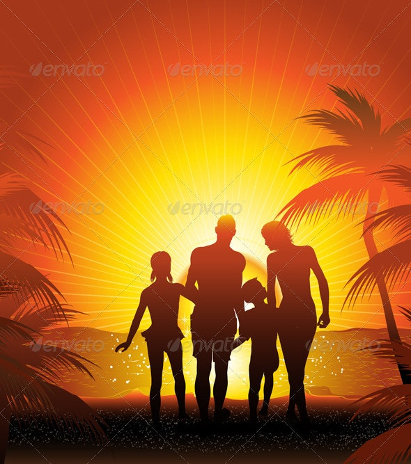 Family on the beach  - Travel Conceptual