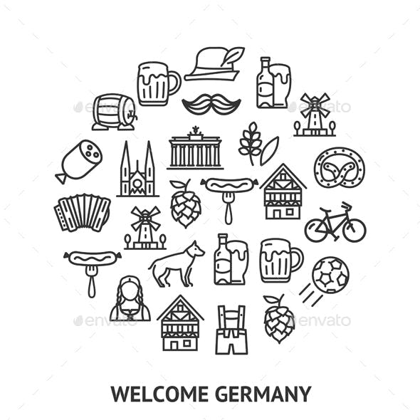 Germany Sign Round Design Template Thin Line Icon Banner. Vector