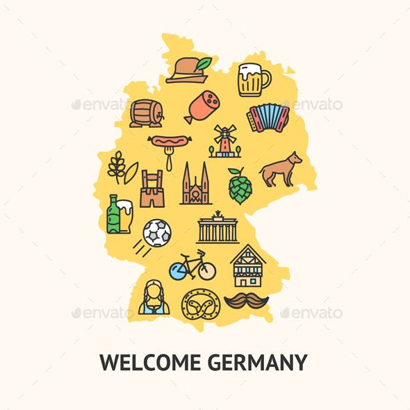 Germany Travel Banner Card with Map. Vector