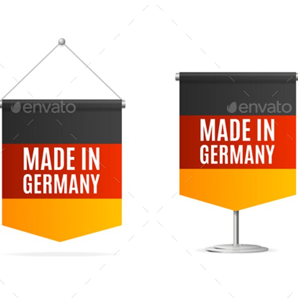 Realistic 3d Detailed Made in Germany Concept Flag Banner Set. Vector