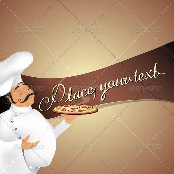 Chef with pizza background - Food Objects