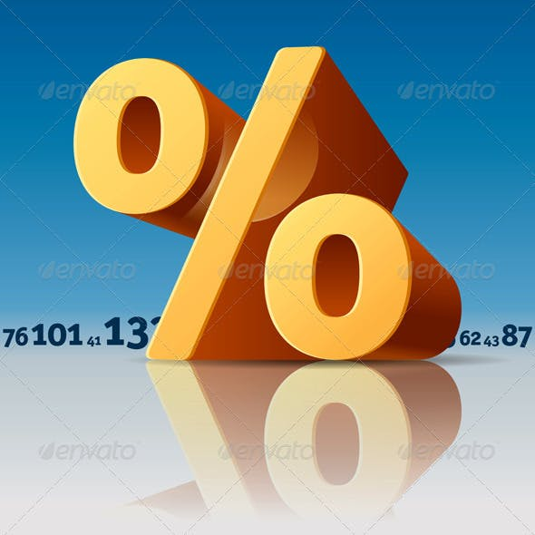 Percent Symbol with Numbers Skyline