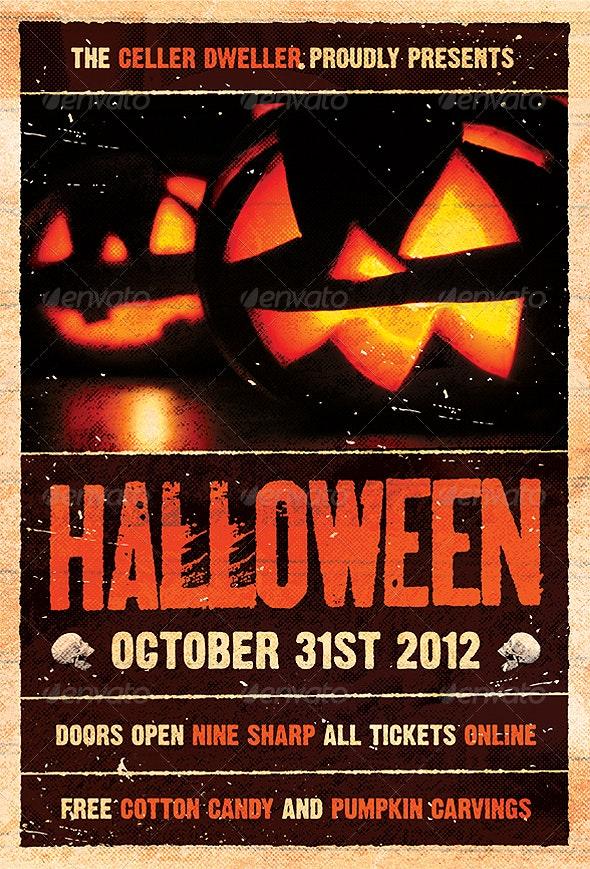 Pumpkin Head - Halloween Flyer Template - Holidays Events