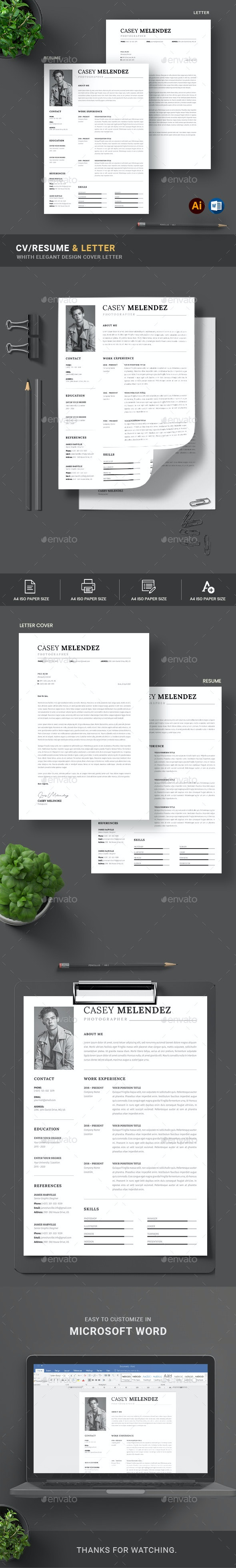 Clean CV Resume & Cover Letter - Resumes Stationery