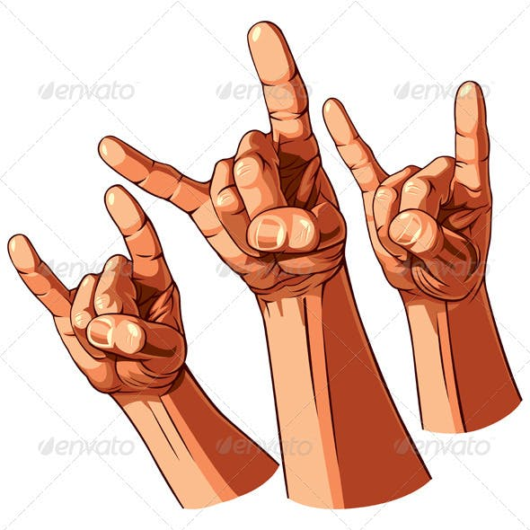 Set of Three Heavy Metal Hands