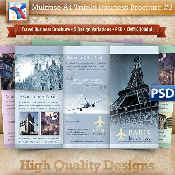 Business Travel A4 Trifold Brochure 5 Variations#3