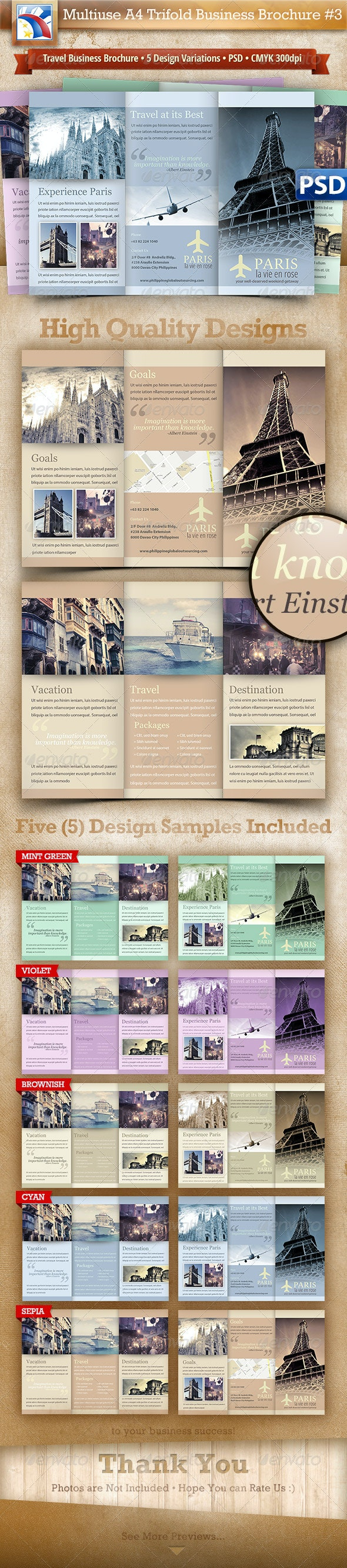 Business Travel A4 Trifold Brochure 5 Variations#3 - Brochures Print Templates
