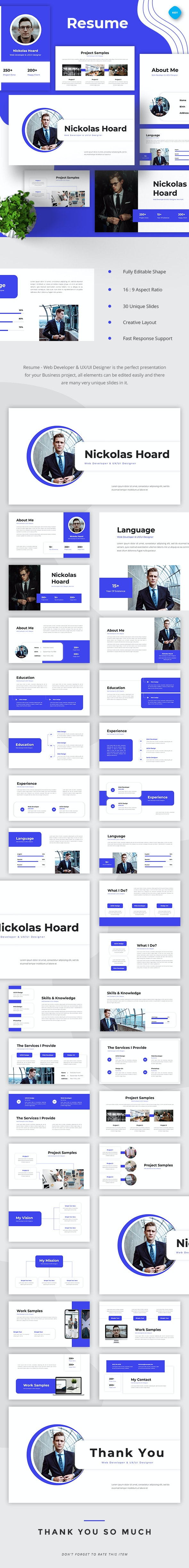 Resume Web Developer & UI/UX Designer Keynote - Business Keynote Templates