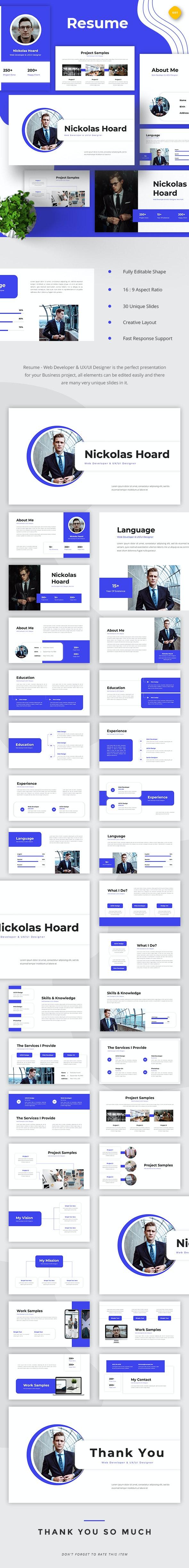 Resume Web Developer & UI/UX Designer Google Slides Google Slides - Google Slides Presentation Templates