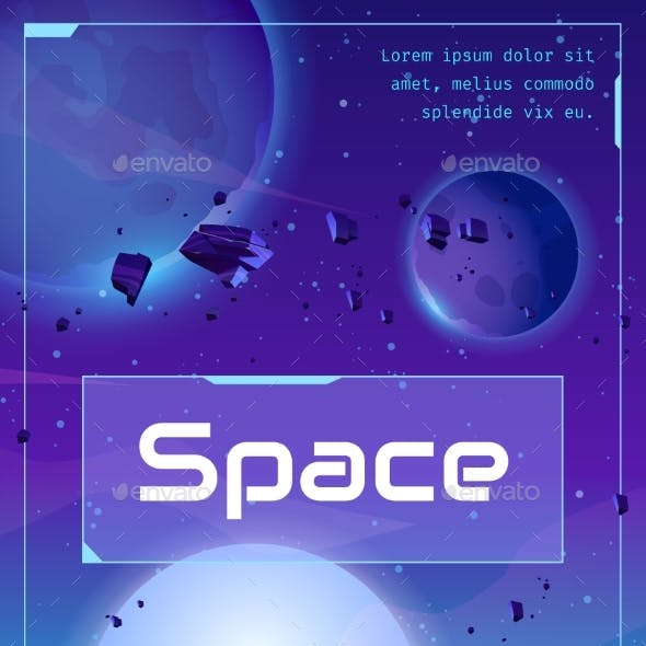 Space Poster with Spaceship Planets and Stars
