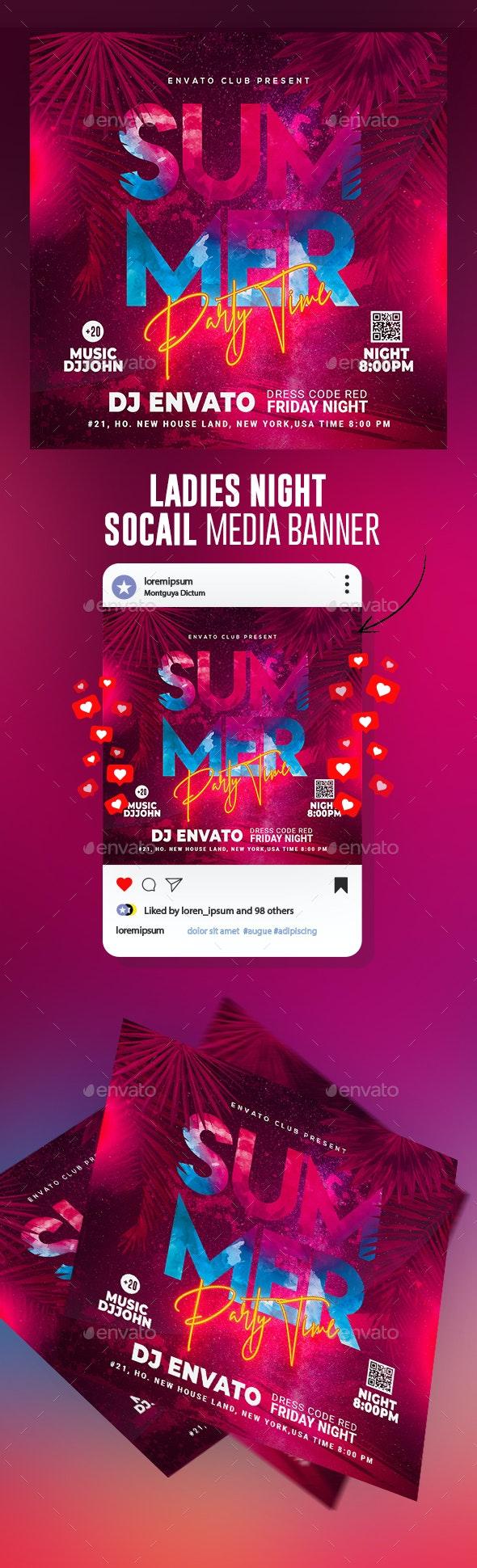 Summer Flyer Template Banner - Banners & Ads Web Elements