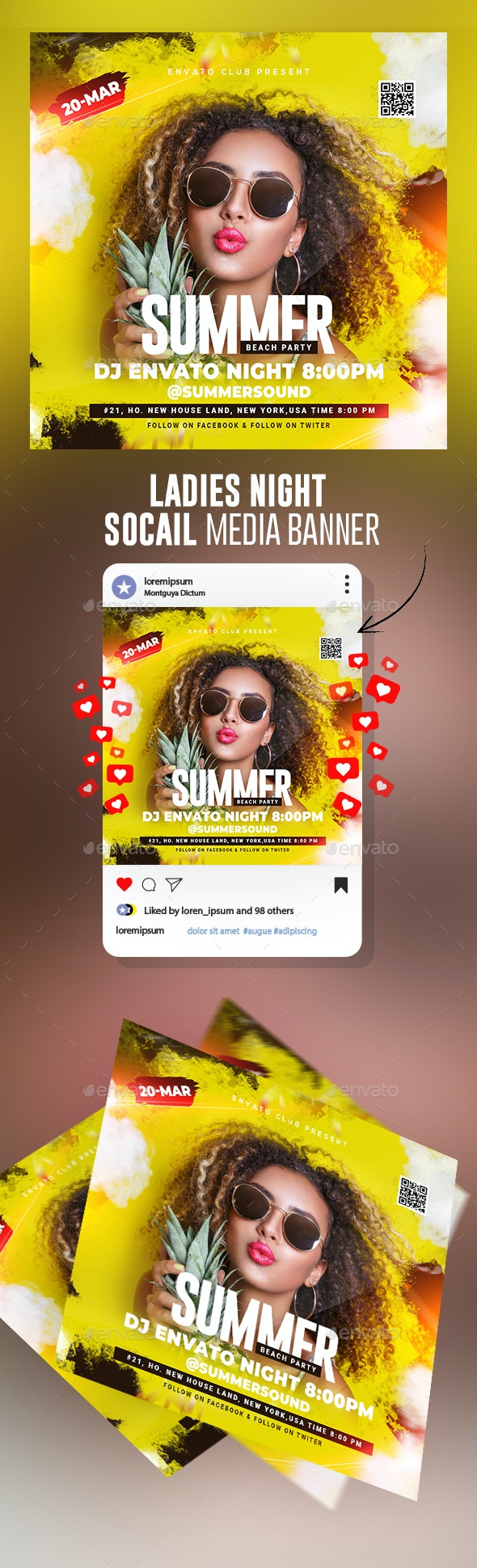Summer Party Flyer Template - Banners & Ads Web Elements