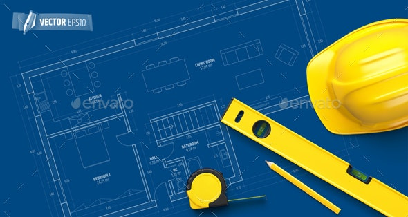 Vector Realistic Construction Background - Backgrounds Decorative