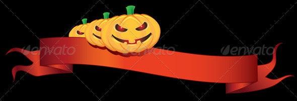 Ribbon with halloween pumpkins  - Halloween Seasons/Holidays