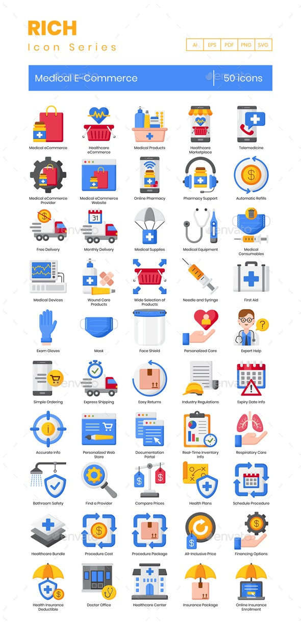 50 Medical eCommerce Icons | Rich Series - Icons