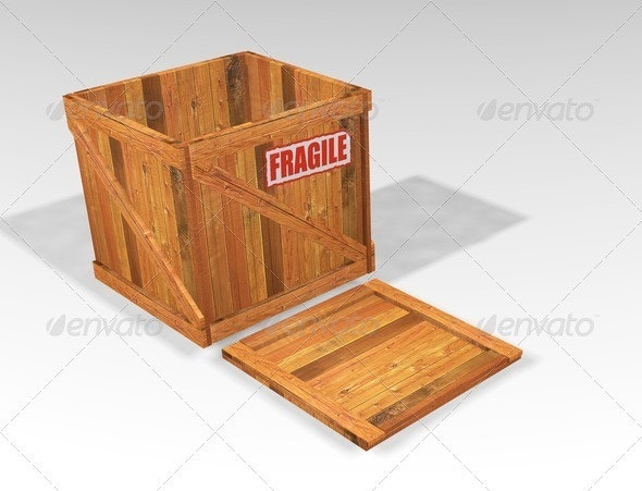 Open wooden crate - Objects 3D Renders