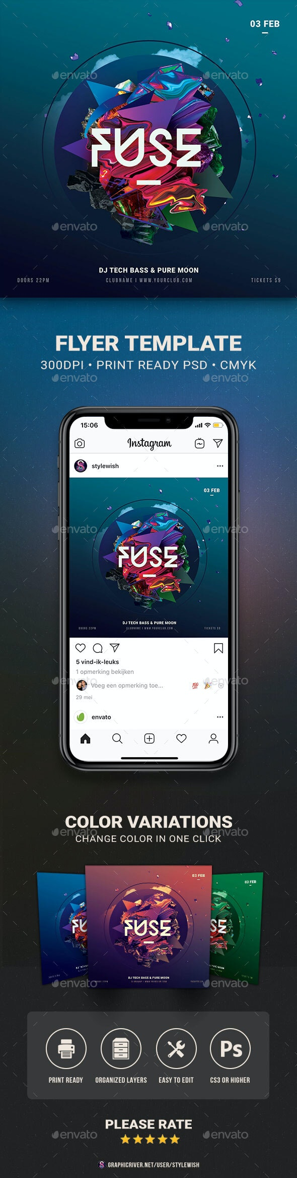 Fuse Flyer - Clubs & Parties Events