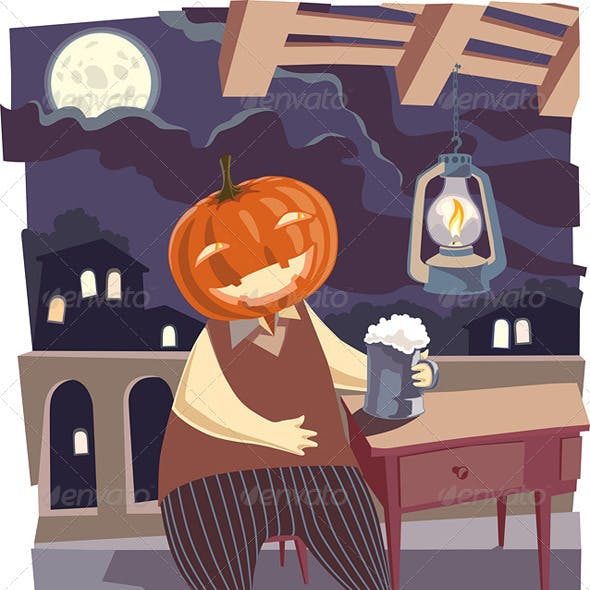 Jack O' Lantern with a Pint of Beer