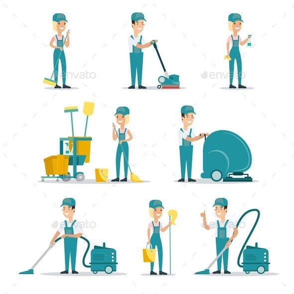 Professional cleaning service people flat style vector illustration icons set.