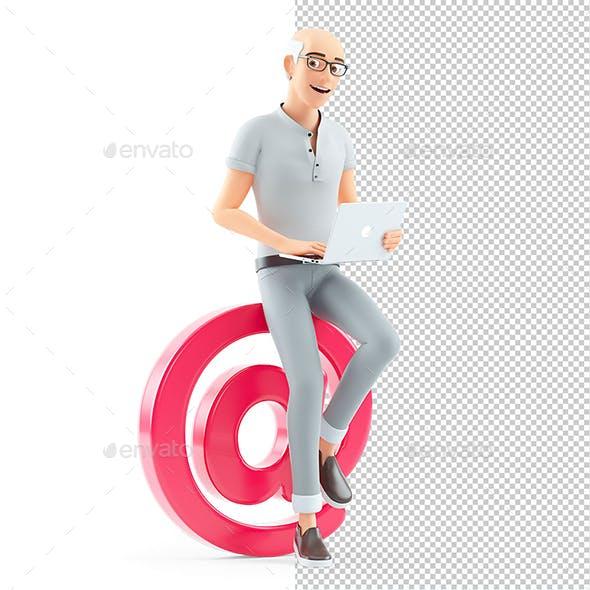 3D Senior Man Working on At Sign