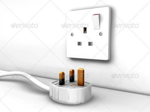 Plug socket and plug - Technology 3D Renders