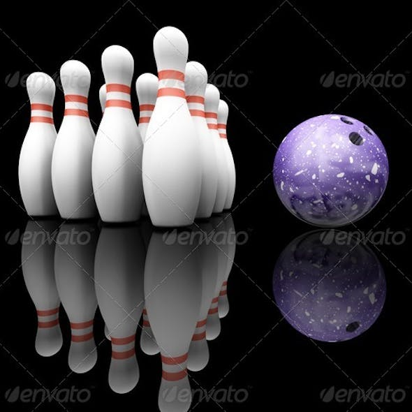 Bowling ball and skittles