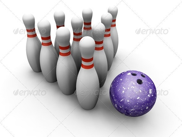 Bowling skittles and ball - Objects 3D Renders