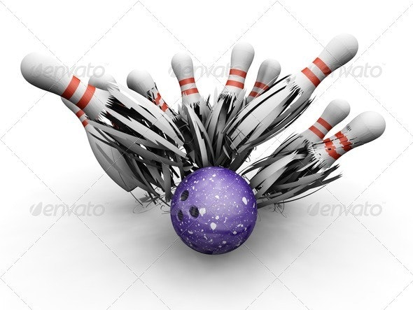 Bowling ball smashing into pins - Objects 3D Renders