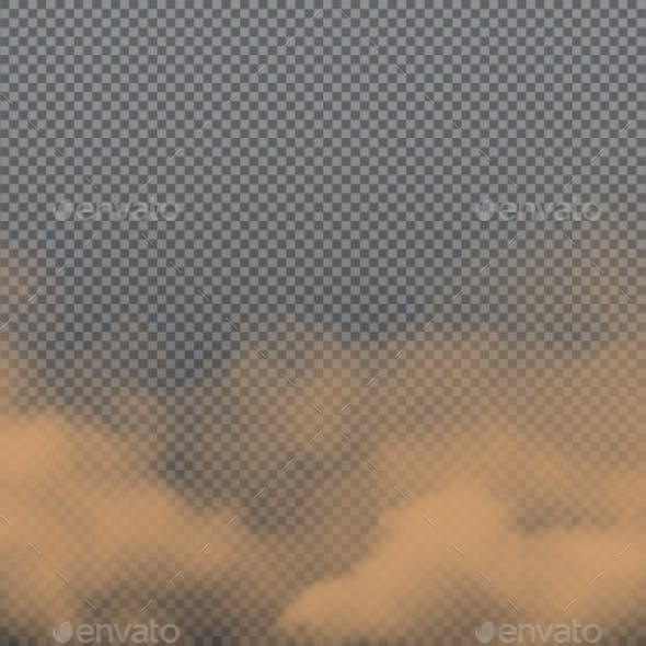 Brown Dust Sand or Dirt Clouds Realistic Vector