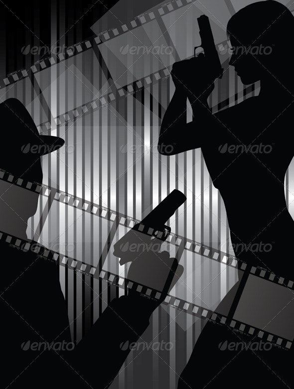 Silhouettes with gun and filmstrips - People Characters