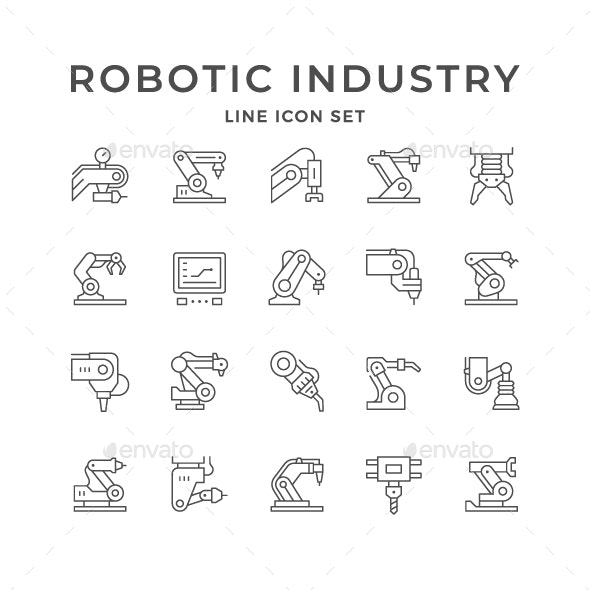 Set Line Icons of Robotic Industry - Man-made objects Objects